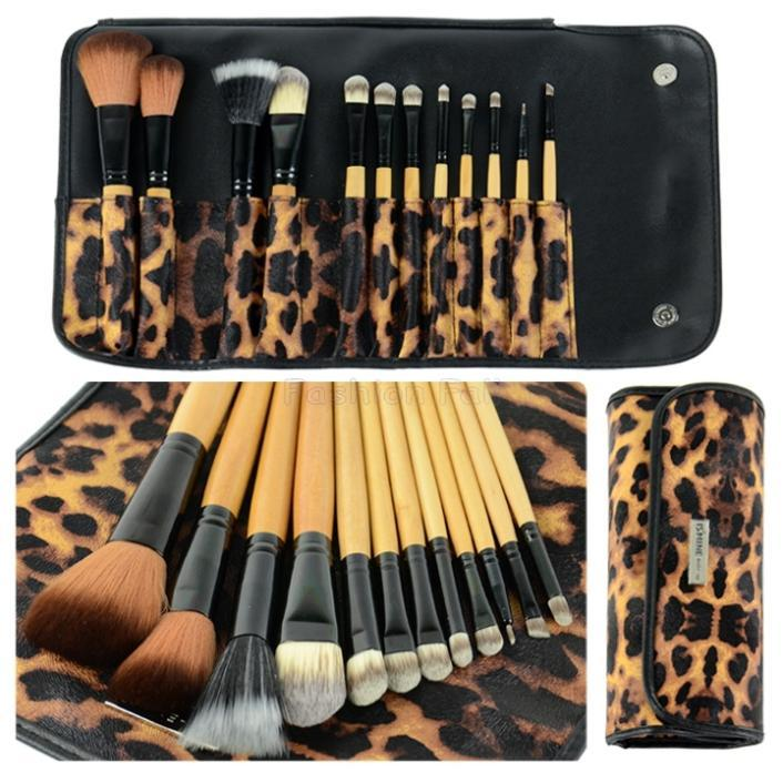 12 sztuk Profesjonalne kosmetyczne pędzle do makijażu Zestaw do brwi ołówek Leopard Torba Zestaw de Pincel Maquiagem Makijaż Pinceis Maquillaje D18