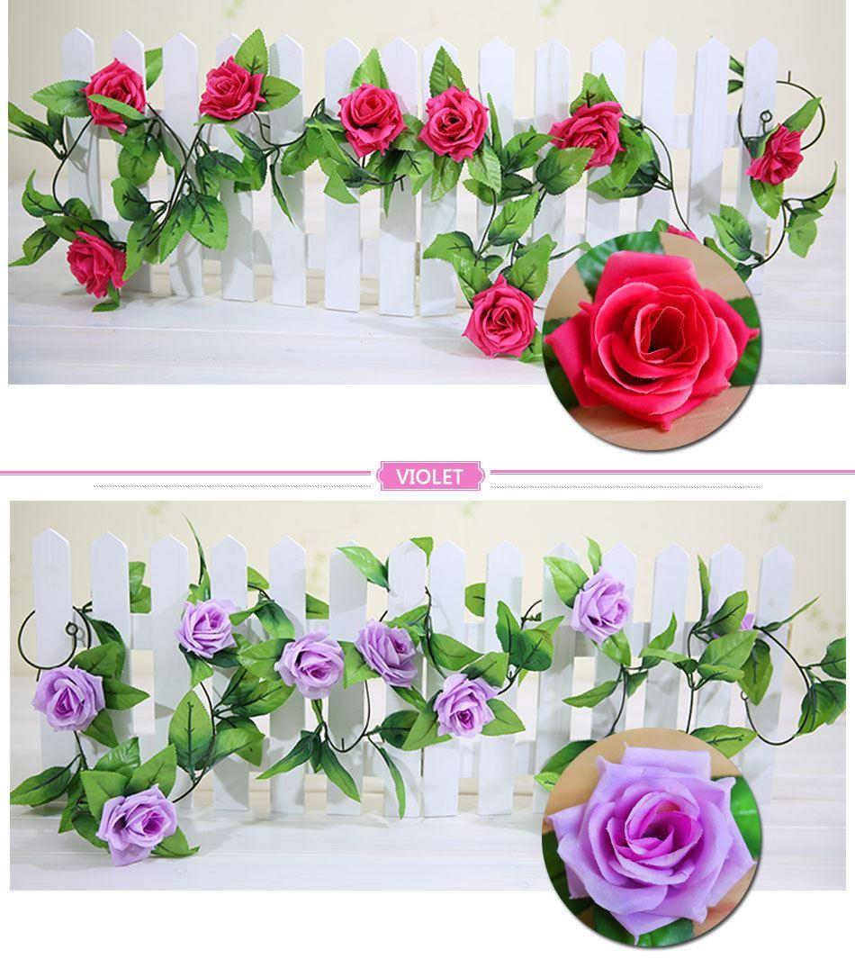Discount Wedding Decorations 2.3m Artificial Silk Rose Fake Flower ...