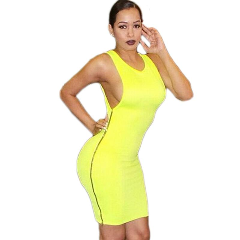 6 Colori XXL Plus Size Donna Stile Estivo 2016 Bianco Sexy Club Cotone Con Zip Laterale Boob Notte Usura Fasciatura Party Abito in Chiffon Clubwear Pizzo