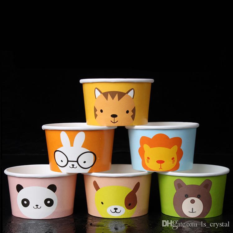 5 온스 만화 색 아이스크림 컵 에코 친화적 인 일회용 두꺼운 종이 케이크 컵 그릇 테이크 아웃 디저트 패키지 100pcs / lot SK809