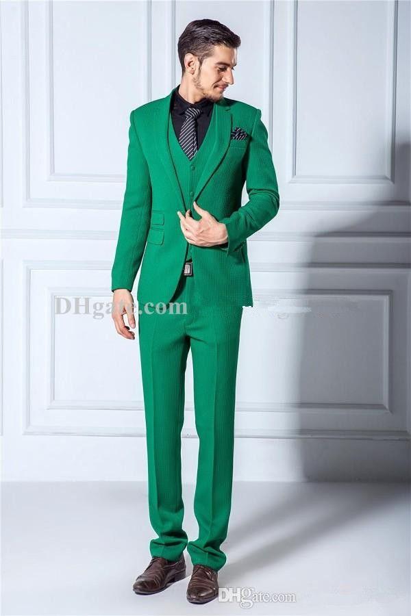 High Quality One Button Green Groom Tuxedos Notch Lapel Groomsmen ...