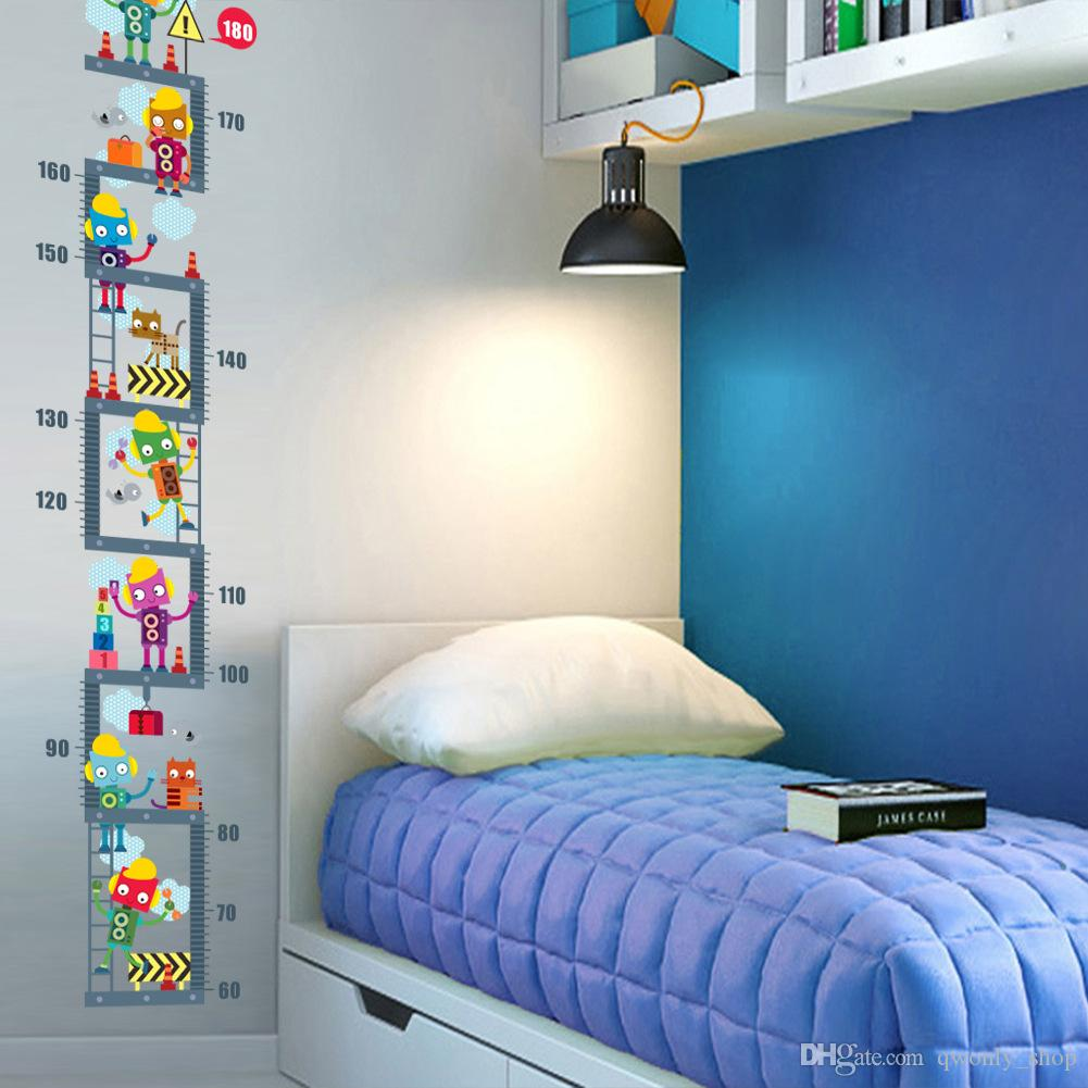Robot Upstairs Height Measure Wall Sticker For Kids Children Room Decor  Growth Chart Wall Decal Art Boy\'S Room Décor Wall Graphic Decals Wall  Graphic ...