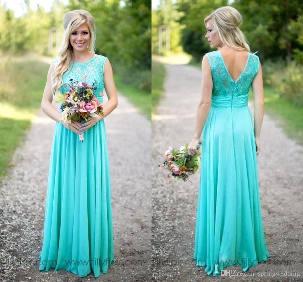New Elegant Cheap Bridesmaid Dresses Scoop Neckline Chiffon Floor Length Lace V Backless Long Bridesamids Dresses for Wedding BA1513 CPS574