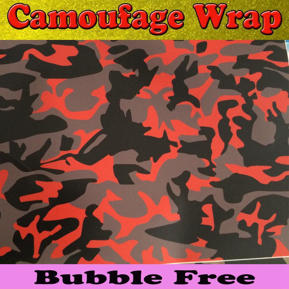 Rosso nero Camoufalge vinile Car Wrap Stickerbomb Graffiti Cartoon grande Camo Wrap Sticker Decal Film Foglio bolla d'aria gratuita