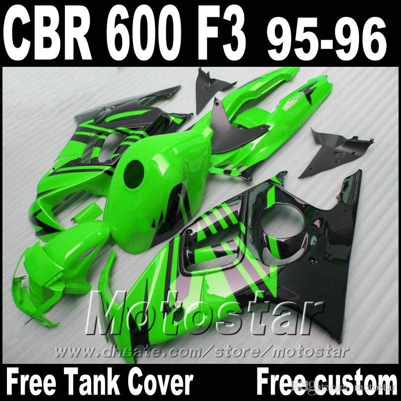 Популярные наборы тела для HONDA CBR600 F3 обтекателей 1995 1996 зеленый черных пользовательского обтекателя комплект ЦБР 600 95 96 ZB87