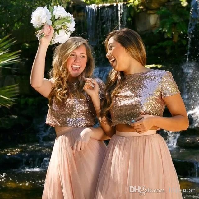 2 Pieces Sequin Short Bridesmaid Dresses Short Sleeve Knee Length A Line Country Wedding Party Dresses Chiffon Bridesmaids Gown Rose Gold