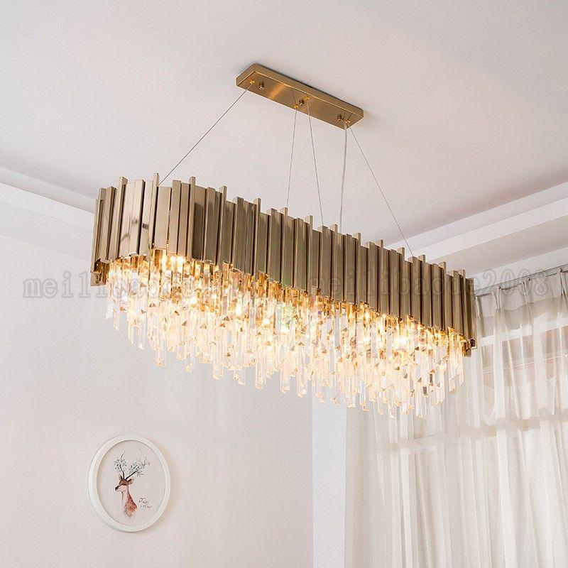 BE160 الشمال الحديثة الإبداعية الحديد الذهب فيلا كريستال الثريات أضواء غرفة المعيشة مصباح الفاخرة التعميم / البيضوي قلادة مصابيح الإضاءة