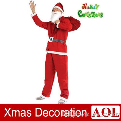 New Arrival Men 160-180cm 5Pcs sets of Christmas Santa Claus Suit costume party performance apparel Christmas Clothes Sets nonwoven