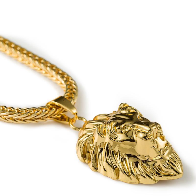 Высокое качество 24 К Позолоченные Голова Льва Короли Подвески Ожерелье Хип-хоп мода Рэп Золотой Crucifixio Подвеска Львиное Животное Цепи Ожерелье