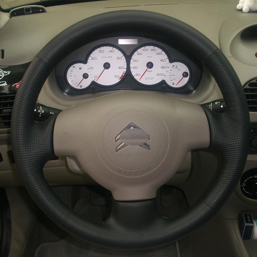 PEUGEOT 206 207 Citroen C2 için direksiyon Direksiyon kapakları Hakiki deri DIY Araba styling Jant kapağı El dikiş deri araba kapakları
