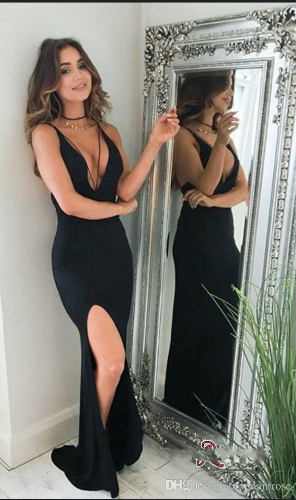 Elegant Black Mermaid Prom robes Deep V Neck Backless Sexy Split Robe de soirée Custom Made Robes de soirée