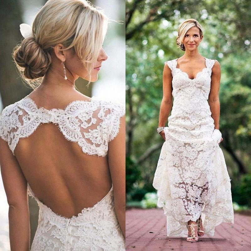 Discount Vintage Lace Wedding Dresses Sexy Open Back Bridal Gowns Bohemian Cap Sleeves Backless Garden Party Dress For Brides Plus Size Dresses