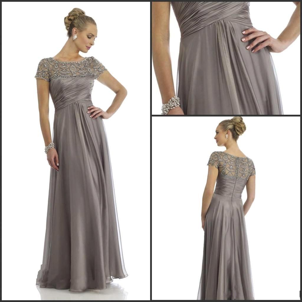 2015 Hot Sales Long Chiffon Mother of the Groom Dresses Short Sleeve Beading Rhinestone Ruffles Empire Scoop Neckline Floor Length