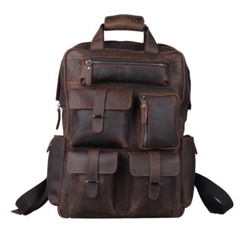 Men/'s Genuine Leather Backpack Laptop Bag Large Hiking Travel Camping Carry On
