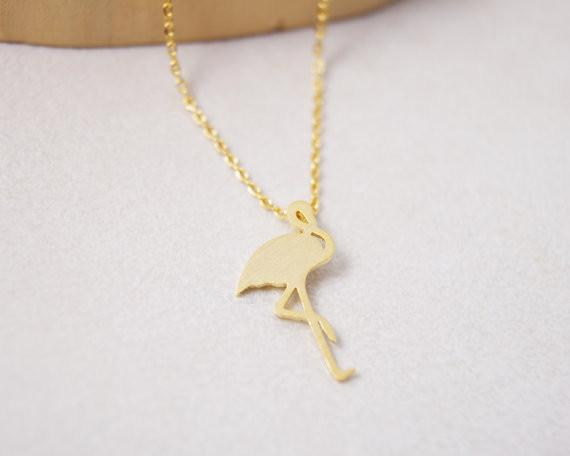 2018 listed on the new trend of the fashion of 18 k gold plated silver flamingos women necklace pendant necklace gift wholesale