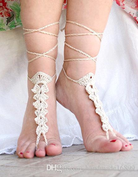 Weiß Strandhoch Crochet barfüßigsandelholze, Fuß Schmuck, Nude Schuhe, Sexy, Yoga, Fußkettchen, Bauchtanz, Strand Pool