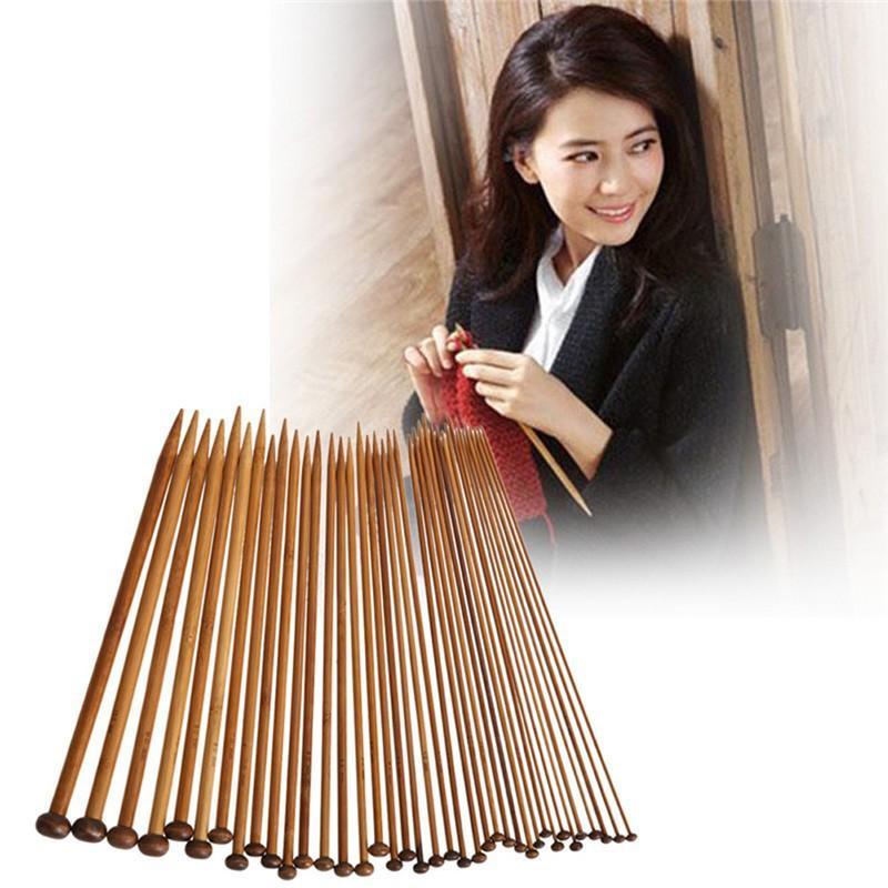36Pcs Sweater Knitting Circular Bamboo Handle Crochet Hooks Smooth Weave Craft Needle 18 Sizes