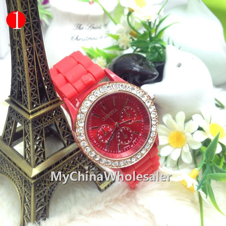 14 개 색상 새로운 그림자 로즈 골드 컬러 스타일 제네바 라인 석 시계 고무 크리스탈 패션 남성 여성 실리콘 석영 시계