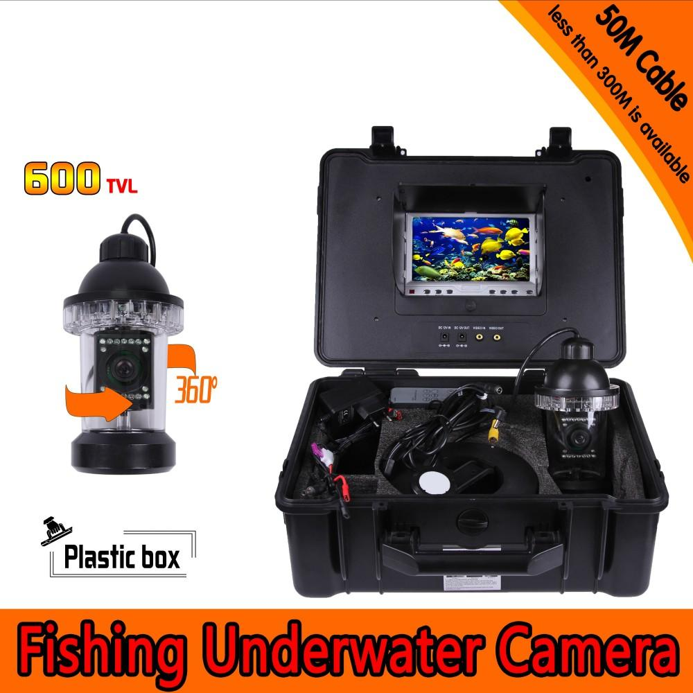 Underwater Fishing Camera Kit with 50Meters Depth 360 Panning Rotative Camera & 7Inch TFT LCD Monitor & Hard Plastics Case