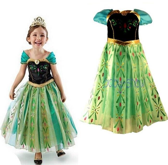 Compre Ana Congelados Verano Vestido Anna Coronación Vestido Anna Verde Vestido De Princesa Trajes Vestidos Para Envío Gratuito De Las Niñas En Acción