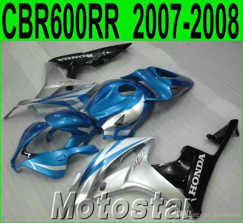 Injection molding fairing body kit for HONDA CBR600RR 07 08 blue silver black fairings set CBR 600 RR F5 2007 2008 LY42