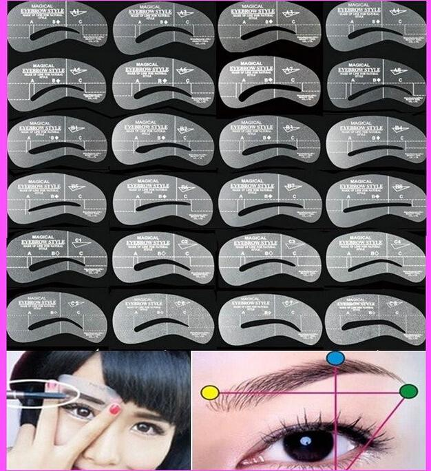 24pcs/Set Styles Grooming Brow Painted Model Stencil Kit Shaping DIY Beauty Eyebrow Template Stencil Make Up Eyebrow Styling Tool