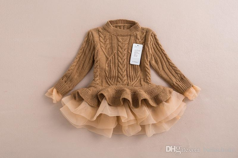 54ebb8380d6 2019 Kids Girls Knit Sweater Dresses Baby Girl Tulle Lace TUTU Autumn  Winter Princess Jumper Pullover Dress A2 From Bailachong, $87.74 |  DHgate.Com