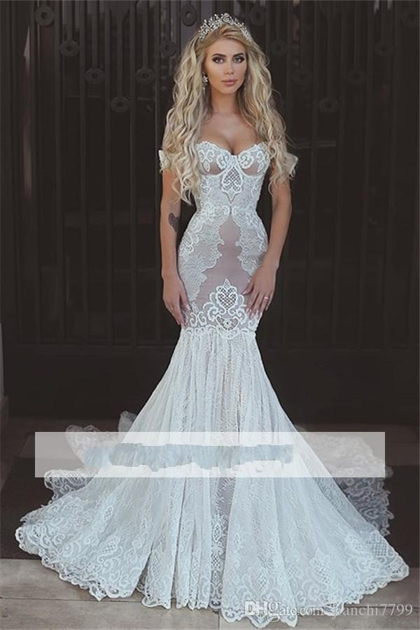 2018 Vintage Full Lace Mermaid Wedding Dresses Cap Sleeves ...