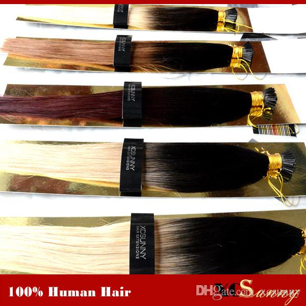 "XCSUNNY Stock 100% Remy Indian Hair Ombre I Tip Hair Extensions 18 ""20"" 1g / s Extension Cheratina Bionda Estensione per capelli umani"