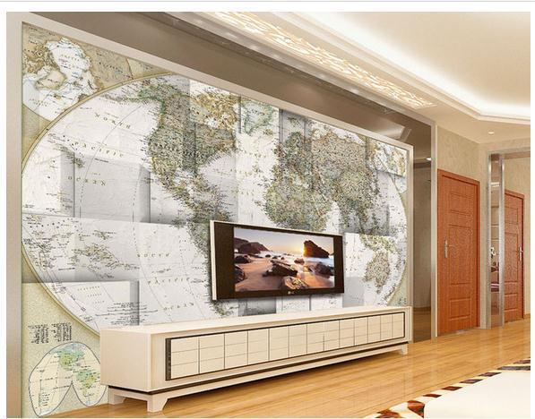 Papel de parede 3D three-dimensional world map non-woven wallpaper new large murals wallpaper costomize size20151330