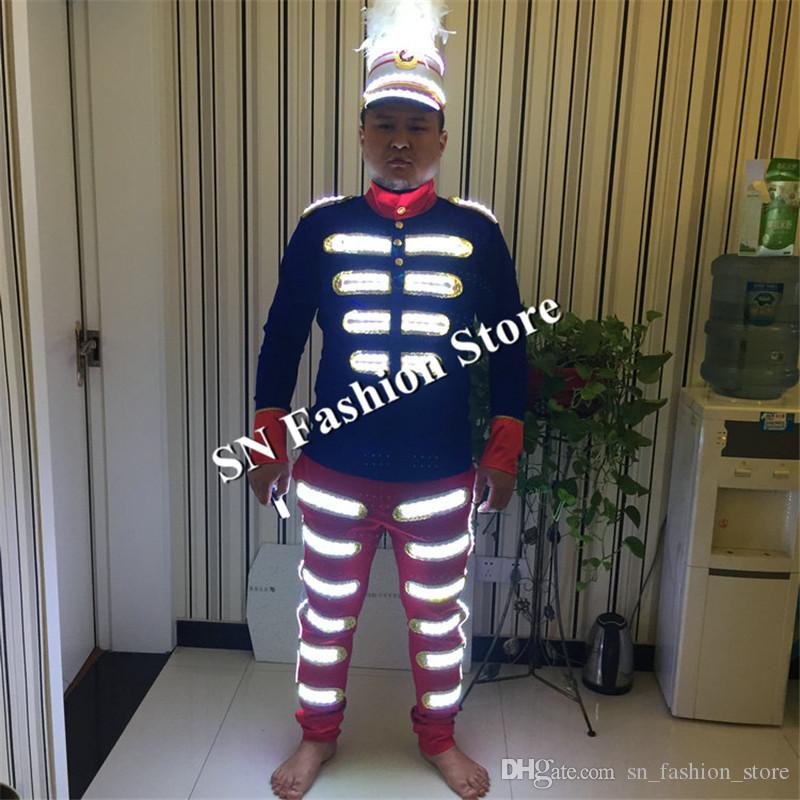 MD21 Ballrom dance led costumes mens robot stage wears led light luminous clothes pants hats helmets dj singer RGB led suit