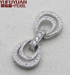 Бесплатная доставка Оптовая жемчужные аксессуары Ю Фу юань 925 серебряные инкрустации горный хрусталь многослойные жемчужное ожерелье пряжки браслет YPJ66