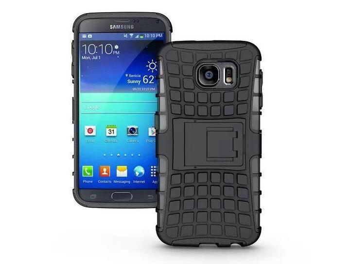 Caliente para la caja única de la granada de agarre de la piel rugosa de goma del teléfono 6s Stent cubierta para el Galaxy S6 Caso Anti-Polvo duro del soporte del silicio