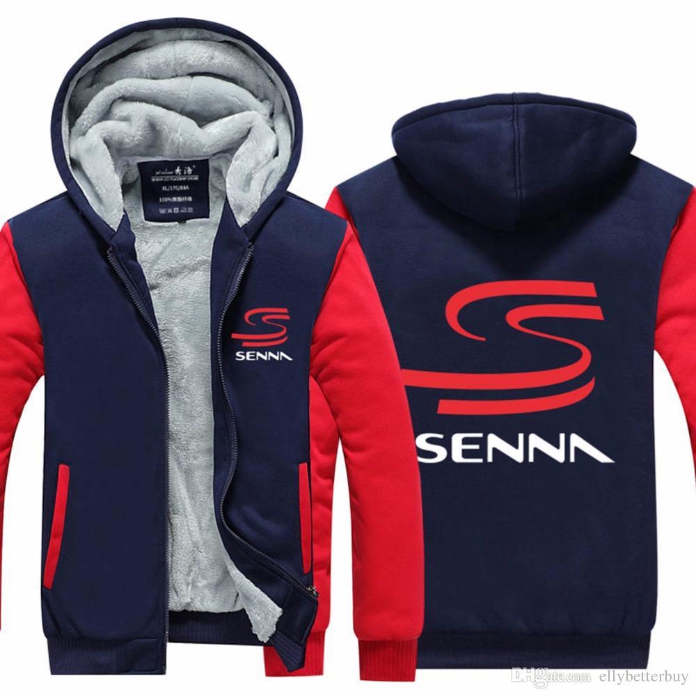 Erkek Hoodie F1 Racer Kalınlaşmak Fleece Ayrton Senna Kış Coat ABD AB Artı boyutu