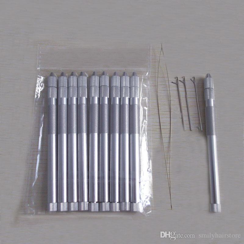 10 zestawów uchwyt aluminiowy Wielofunkcyjny igła ciągnąca do mikro pierścienie Linki Loop Hair Extension Tools 3 Igły + 1 Gwintier