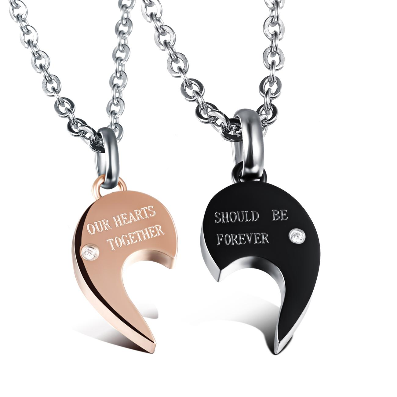 Coppia gioielli Collana in acciaio inossidabile 316L con cuore a puzzle