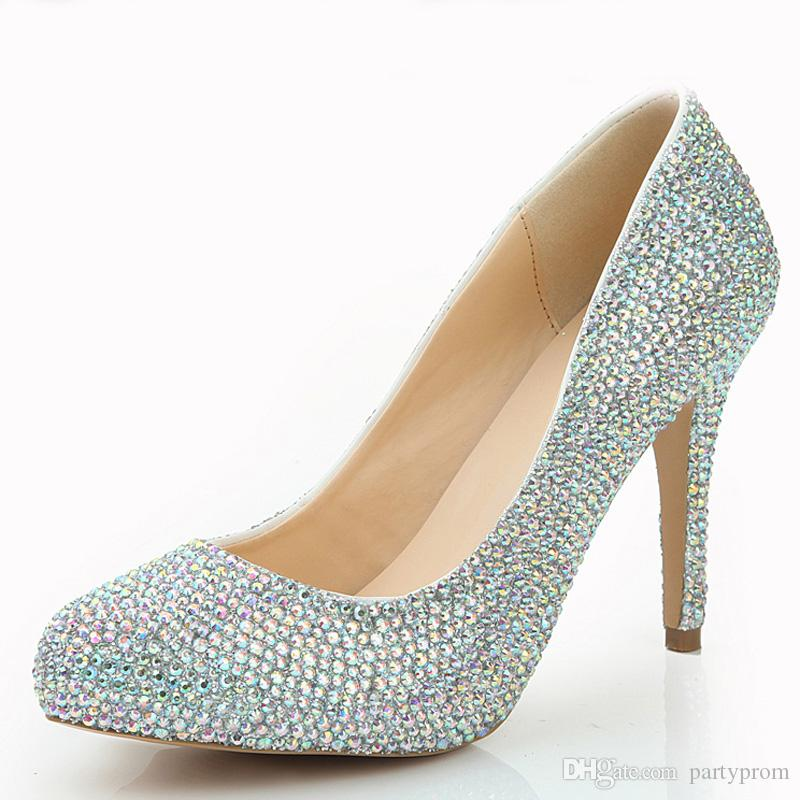Fahion Women Rhinestone Nightclub Shoes AB Color Crystal Party Pumps 4 Inches High Heel Wedding Shoes Party Prom Pumps