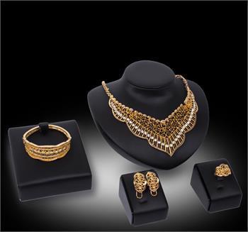 Африканские ювелирные наборы 18k позолоченный Кристалл ожерелье браслет кольцо серьги невесты и подружки невесты свадебный комплект ювелирных изделий