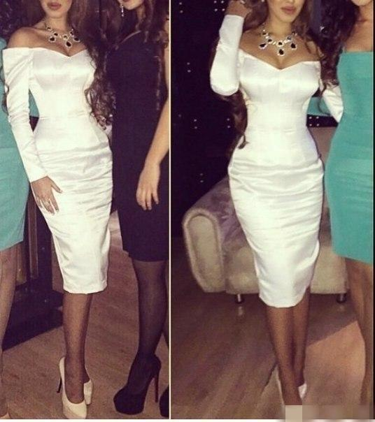2019 sexy cocktail jurken lange mouwen thee lengte wit satijn formele beroemdheid arabisch off shoulder prom feestjurk backless vestidos de