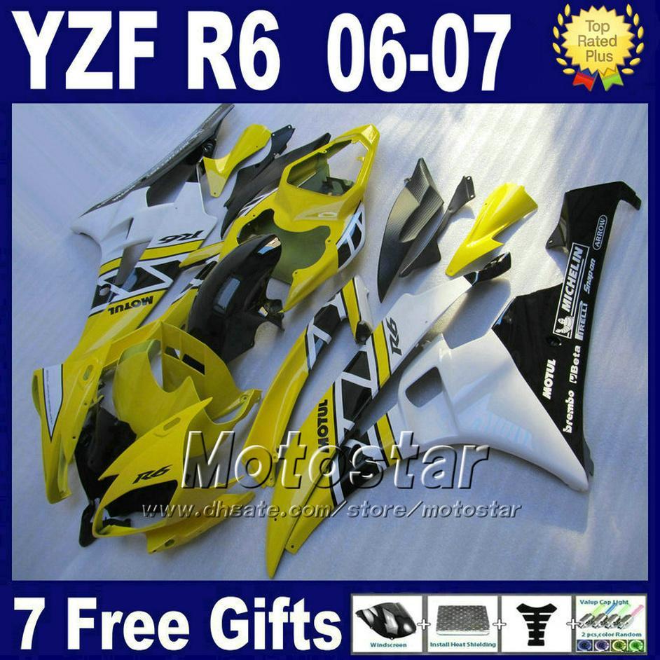 100٪ حقن لYAMAHA R6 هدية طقم 2006 2007 بيضاء نفطة YZF الأصفر R6 06 07 + قلنسوة مجانا