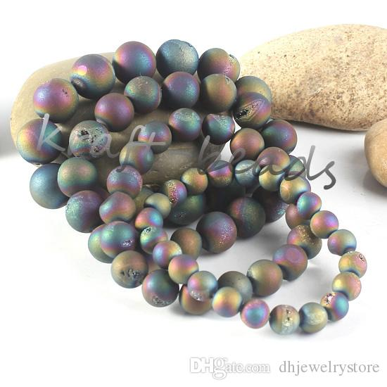 Подвески Нартуральные Титана кварцевый кристалл Агат Geode камень красочные круглой формы бусины каменные браслеты ювелирные изделия