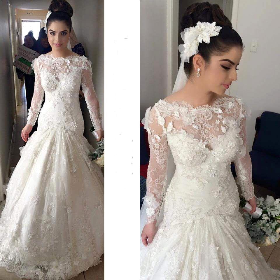 2015 sjöjungfru bröllopsklänningar elengant vestido-de-novia spets handgjorda blommor Beteau halsringning långärmade brudklänningar