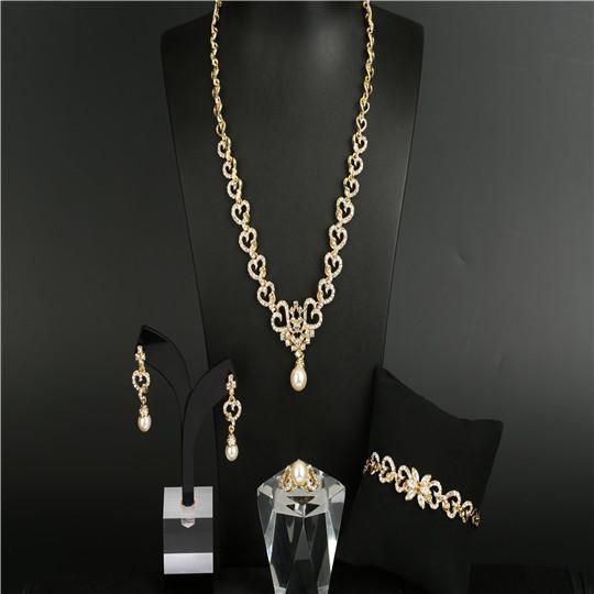 10bdb0a9a6f2 la moda conjuntos de joyas de Cristal de 18 quilates Chapado en Oro de  Mosaico Perla