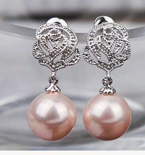 белый *розовый*earigns Красная груша 925 серебряный женщин (wxfefd863)