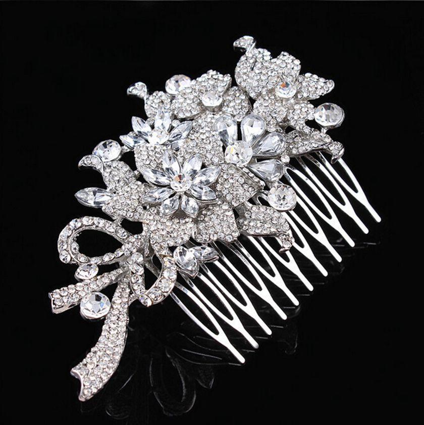 4.3 дюймов очень большой винтажный вид серебряный тон элегантный свадебный расческа волос с крошечными кристаллами горный хрусталь