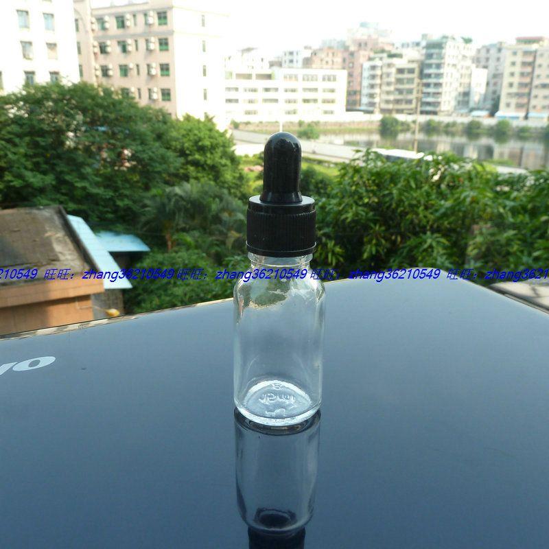 15 ㎖ 투명 / 검은 색 플라스틱 정상 스포이드 뚜껑 투명 유리 에센셜 오일 병. 오일 유리 병, 에센셜 오일 컨테이너