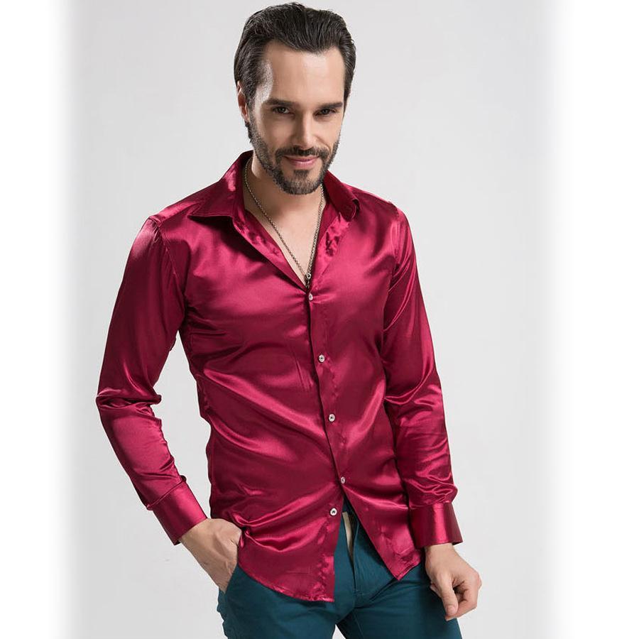 2017 Nt002 2015 Mens Slim Fit Shirts Long Silk Shiny Shirts For ...