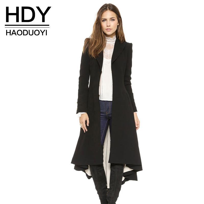HDY Haoduoyi Sonbahar Kış Kadın Siyah Uzun Kollu Trençkot Moda Yün Karışımı Mont Bayanlar Sıcak Trençkot Bayan Yıpratır q1109