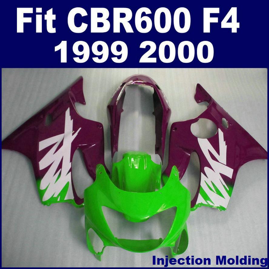 100٪ racing حقن صب ل HONDA fairing parts CBR 600 F4 1999 2000 green cbr600 f4 99 00 custom fairing OVSD