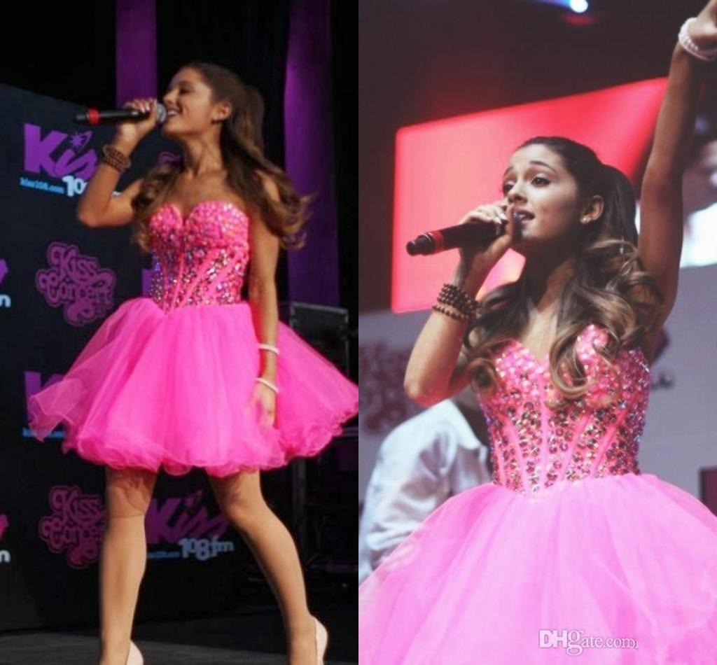 2016 New Pink Ariana Grande Homecoming Dresses 2015 Crystal Beading Tulle Sweetheart Backless Lace Up Short Party Gowns Cheap Prom Dress Uk 2019 From